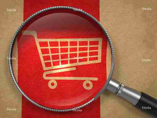 Magnifying Glass with Shopping Cart Icon.